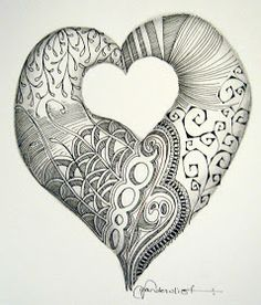 Heart Zentangle. Wow I am amazed because like its a heart Zentangle and it's really nice.