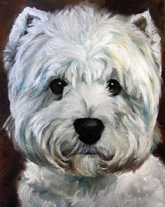 PRINT White Westie West Highland Terrier by HangingtheMoonShelby