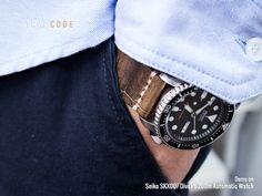 MiLTAT Zizz Collection 22mm Cracked Croco Dark Brown Watch Strap, Beige Stitching [22P22BBU55C4C34-FH]