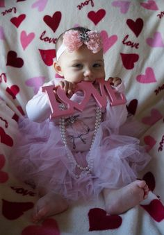 Valentine Baby Photo Idea. At this age, everything goes in the mouth!
