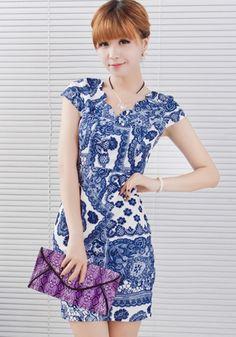 Blue Floral Print Short Sleeve Cotton Blend Vintage Dress