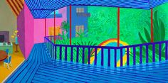 David Hockney, Interior with Blue Terrace and Garden 2017 Santa Monica, David Hockney Photography, David Hockney Paintings, David Hockney Art, Tate Britain, The Royal Collection, Square Canvas, Level Homes, Foto Art
