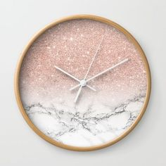 Modern faux rose pink glitter ombre white marble Wall Clock by Girly Trend