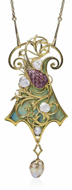 GEORGES FOUQUET - AN ART NOUVEAU ENAMEL AND PEARL PENDENT NECKLACE, CIRCA 1905. The green enamel shield-shaped pendant, applied with a scrolling gold and purple enamel stylised thistle, suspending a baroque pearl, with French assay marks for gold. Signed G. Fouquet, numbered, with maker's mark for Georges Fouquet.