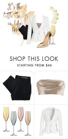 """""""Metallic Gold Look"""" by my-style-xo ❤ liked on Polyvore featuring Nobody Denim, Dolci Follie, LSA International, Christian Louboutin, contest and gold"""