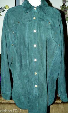 ESCADA by Margaretha Ley Forest Green Suede Leather Long Sleeve Shirt Jacket 42 | eBay