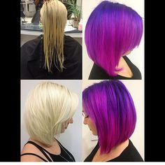 #transformationtuesday  When you get to transform your very own coworkers. Hair by our stylist Erica  #dyedhair #dyeddollies #purplehair #magentahair #pinkhair  #bobhaircut #pravanavivids #carltonhair #CarltonhairBurbank