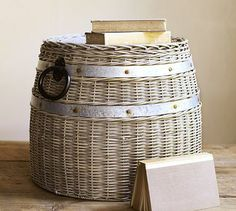 Cask Lidded Basket #potterybarn