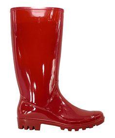 Red Patent Rain Boot