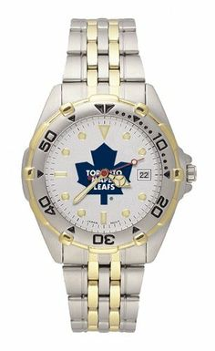 NHL Toronto Maple Leafs Men's All Star Watch Stainless Steel Bracelet by Logo Art. $79.99. LogoArt leads the pack with this stylish All Star men's team logo watch. The All Star features a brushed chrome finish case with a rotating two-tone bezel and matching two-tone stainless steel bracelet. A silver dial with raised luminous hour indexes sports the team logo, minute and second hands, and date window. The crystal is mineral glass. Features precision Miyota quartz ...
