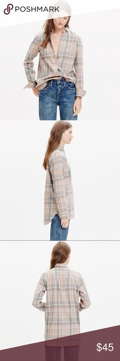 """•Madewell• Ex-Boyfriend Shirt in Camden Plaid Madewell Ex-Boyfriend Shirt in Camden Plaid. In Excellent Used Condition. A Timeless Button-Down Shirt in a Low- Key Pink and Grey Plaid. Slightly Oversized with Ready to Roll Sleeves. Cotton. Machine Wash. When Laying Flat: Bust Measures Approximately 18"""" Across, Length 27"""" Madewell Tops Button Down Shirts"""