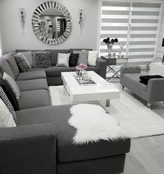 There are many elegant living room ideas that you might decide to get applied in your living room design. Because you have landed here then most probably you want Elegant living room answer. Living Room Decor Cozy, Elegant Living Room, Living Room Grey, Home Living Room, Interior Design Living Room, Living Room Designs, Modern Living, Black White And Grey Living Room, Silver Living Room