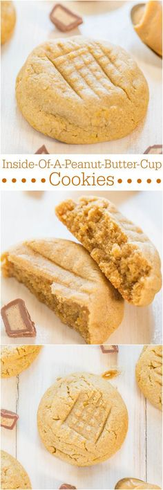 Inside-Of-A-Peanut-Butter-Cup Cookies - Soft cookies that taste like the inside of peanut butter cups thanks to a special ingredient! Yum!!! #peanutbuttercookiebar