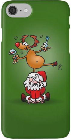 Reindeer is having a drink on Santa iPhone case. #Christmas #iPhone #case #Reindeer #Santa #Redbubble #Cardvibes #Tekenaartje