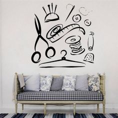 Sewing Room Design, Sewing Room Decor, Sewing Art, Sewing Studio, Sewing Rooms, Sewing Crafts, Wall Stickers Cars, Vinyl Wall Decals, Craft Room Signs