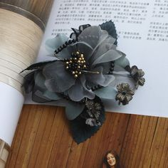 110mm Organza fabric flower corsage brooch with beads by Blinkeye, $8.00