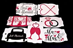 Assorted Wedding Tags, Pink, Black, Just Married Car, Mr & Mrs, Heart, Engagement, Rings, Champagne Glasses, Spouse, Bride, Groom, Bridal, by TheArtOfCreativityCo on Etsy Just Married Car, Purchase Card, Wedding Tags, Champagne Glasses, Pink Black, Bride Groom, Engagement Rings, Bridal, Trending Outfits