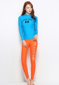 Surfing Surfer Slacker T-shirt Female solid color long sleeve wetsuit  shirts and pants women 7f4a2318f