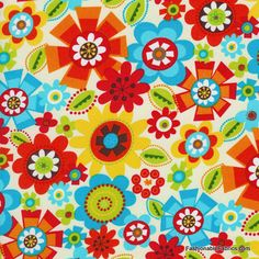 Fabric... Bright Owl Packed Floral on Cream by Alice Kennedy