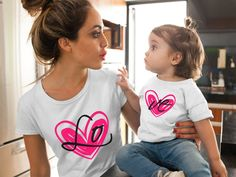 Mommy and me outfit, Mother Daughter matching outfits, Mother Daughter shirts, LO VE matching mom daughter outfit, Mommy and me shirts Mother Daughter Shirts, Father Son Matching Shirts, Mother Daughter Fashion, Mother Daughter Matching Outfits, Mom Daughter, Mother Daughters, Mother Son, Mommy And Me Shirt, Mommy And Me Outfits