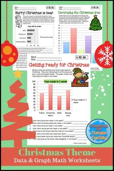 These data and graph worksheets are designed around a Christmas Theme.  Great to continue with math work while getting into the Holiday spirit.  #Christmas #data&graphs #graphwork #math #teacherspayteachers #treasuresforthematicteaching