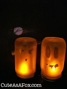 Cute As a Fox: Etched Glass Ghost Luminaries created with my Silhouette #Halloween