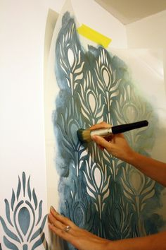 3277bca7afc How to stencil  large peacock stencil in teal paint Peacock Bedroom