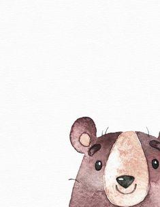 Woodland animal art - Watercolor bear print - Woodland nursery - Nursery wall art - Cute baby girl a Cartoon Drawings, Animal Drawings, Art Drawings, Woodland Nursery, Woodland Animals, Watercolor Art, Watercolor Animals, Animal Art Prints, Bear Print