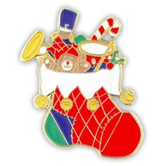 Colorful Christmas Stocking Holiday Lapel Pin -- Find out more about the great product at the image link.