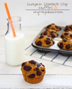One of the reasons I love fall is because it's time for pumpkin...  Pumpkin Chocolate Chip Muffins are my favorite!