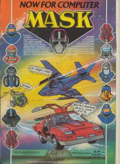 Mask The Computer Game by Gremlin Software Published in 1987 for the Sinclair ZX Spectrum, Commodore Amstrad CPC Classic Cartoon Characters, Classic Cartoons, Pac Man, Playstation, Gaming Magazines, Vintage Video Games, Misfit Toys, Kids Tv Shows, 90s Cartoons