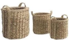 round Seagrass Water Hyacinth Baskets. I am looking for some like this but a little wider, softer, and that slouch on the sides.