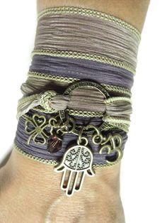 Om Yoga Jewelry Namaste Silk Wrap Bracelet Hamsa Hand Of Fatima Protection Evil Eye Jewelr... $29.99