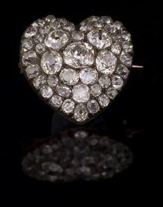 A Victorian diamond-set heart-shaped brooch. (Reeman Dansie)