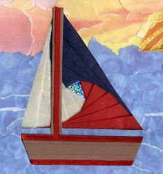 Iris Folded Sail Boat  Part of the free pattern set available at http://www.circleofcrafters.com/irisfolding/memoriesofsummer.html