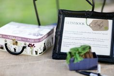 Creative guest book; write your message on a tag and place it in the suitcase for the couple to open and read on 1 year anniversary.  Photo by Wings of Glory Photography