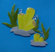 CORAL REEF SEA PLANTS Precut Stained Glass Mosaic Inlay Kit DIY Ocean Seascape. Ready for use in your mosaic projects.  #RachelKratzer