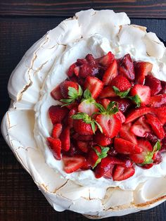 Balsamic Roasted Strawberry Pavlova | Square Meal Round Table
