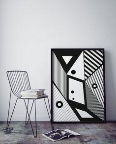 Black and white art geometric wall art print by KAKUMAstore