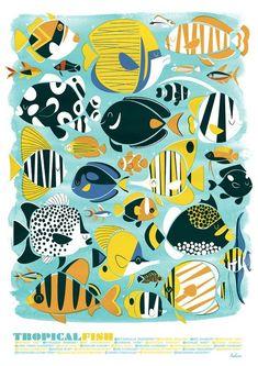 Tropical Fish illustration by Peskimo Illustrations, Illustration Art, Litho Print, Fish Art, Tropical Fish, Marine Life, Sea Creatures, Drawings, Artist