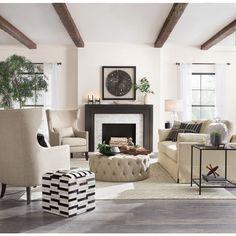 80 elegant furniture for modern farmhouse living room decor ideas 75 Fireplace Mantle, Living Room With Fireplace, Fireplace Design, Black Fireplace, Living Room Mirrors, Living Room Chairs, Living Room Decor, Living Area, Living Rooms