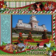 Disney Christmas scrapbook page layout idea
