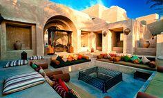 Romantic outdoor patio in Bab Al Shams, Dubai.