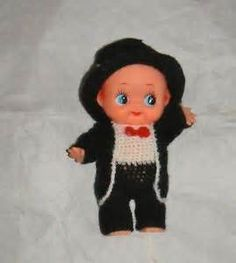 Japanese OLD Kewpie Doll Japan 20 5cm Cute TOY Black Clothes AND HAT ...