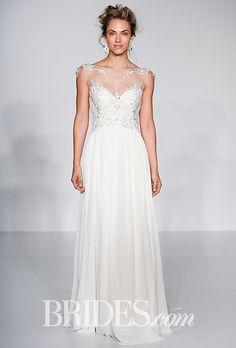 "Maggie Sottero - Spring 2016. ""Marina"" column wedding dress with illusion lace neckline, Maggie Sottero"