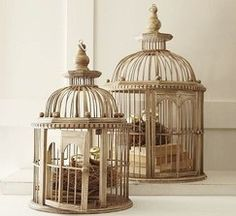 Pottery Barn birdcages...no longer available but would look amazing with flowers in them.