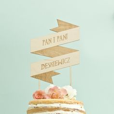 Ślub - dodatki-Cake topper, napis na tort personalizowany