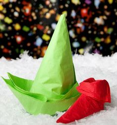 Napkin Crafts - Elf Shoe & Hat