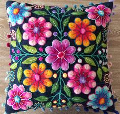 Pillow cushion covers Hand embroidered flowers Sheep & alpaca wool 16 x 16 handmade Set of 2 Blue Peruvian Textiles Hand Embroidery Flowers, Hand Embroidery Designs, Embroidered Flowers, Embroidery Patterns, Mexican Embroidery, Folk Embroidery, Bordado Popular, Peruvian Textiles, Embroidered Cushions