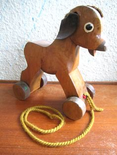 Vintage Mid Century Wooden Pull Donkey Toy Germany by HookundHand
